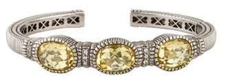 Judith Ripka Canary Crystal & Sapphire Oval Three Stone Cuff