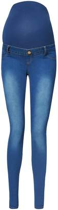 Dorothy Perkins Womens **Maternity Blue Mid Wash Overbump Super Skinny Fit Jeans