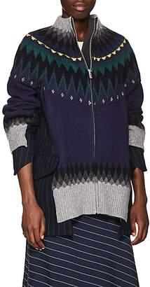 Sacai Women's Fair Isle Wool-Blend Zip-Front Jacket