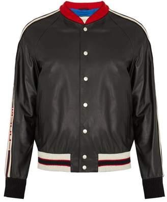 Gucci Hollywood Applique Leather Bomber Jacket - Mens - Black