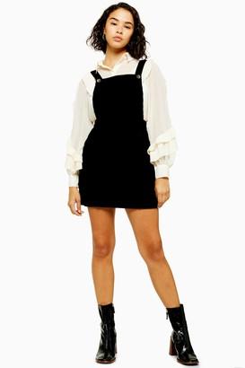 Topshop PETITE Black Corduroy Pinafore Dress