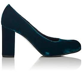 Barneys New York Women's Chunky-Heel Velvet Pumps-Turquoise