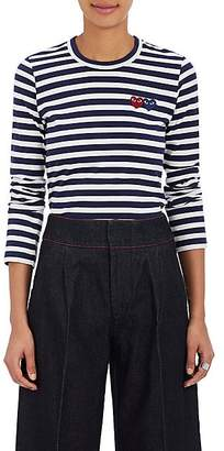 Comme des Garcons Women's Heart Striped Cotton T-Shirt - Navy