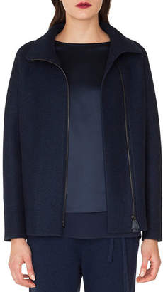 Akris Ray Zip-Front Raglan-Sleeve Cashmere Jersey Jacket