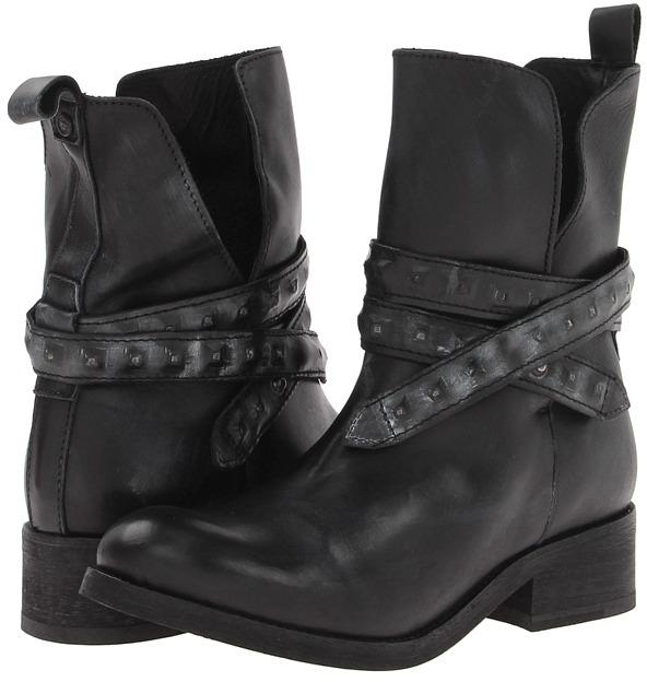 Diesel Roll Sashan Boot (Black Treated Leather/Studded Detail) - Footwear
