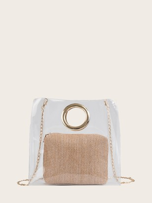 172f83ecb8 Shein Clear Chain Bag With Woven Inner Pouch