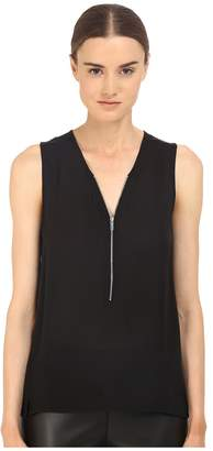 The Kooples Tank Top in Silk and Jersey with a Zip Neckline