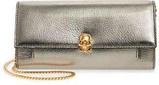 Alexander McQueen Skull Metallic Leather Wallet on a Chain