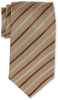 Tom Ford Gold & White Stripe Silk Tie