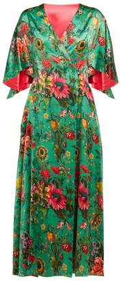 Adriana Iglesias Floral Print Flared Sleeve Silk Blend Dress - Womens - Green Multi