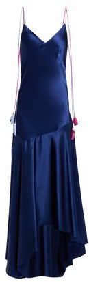 Anna October - Tassel Tie Asymmetric Satin Midi Dress - Womens - Navy