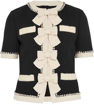 Gucci Swarovski Crystal And Bow-embellished Wool Jacket