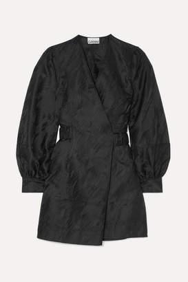 Ganni Jacquard Mini Wrap Dress - Black