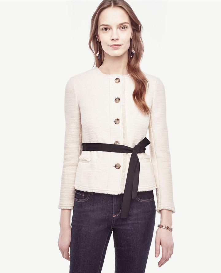 Ann TaylorPetite Belted Fringe Tweed Jacket