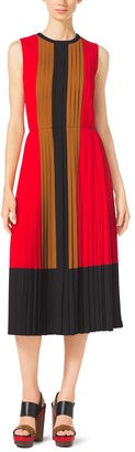 Michael Kors Color-Block Pleated Georgette Dress