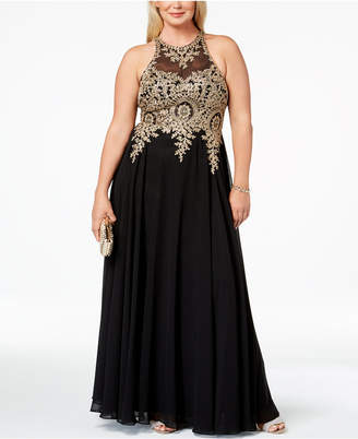 Xscape Evenings Plus Size Embroidered Gown