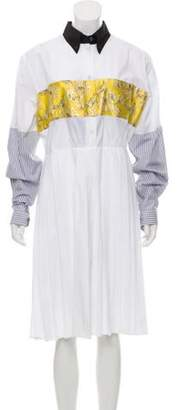 Prada Metallic Pleated Shirtdress w/ Tags White Metallic Pleated Shirtdress w/ Tags