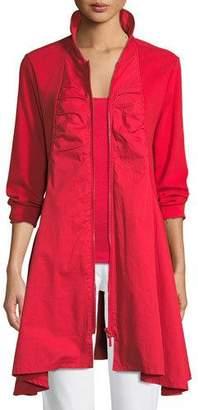 Joan Vass Long-Sleeve Zip-Front Stretch Interlock Jacket, Plus Size