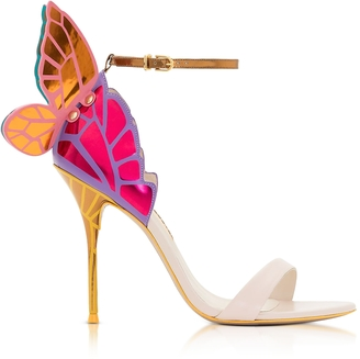 Sophia Webster Nude and Multicolor Metallic Leather Chiara High Heel Sandals