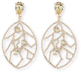 Oscar de la Renta Crystal Fern Statement Clip-On Earrings