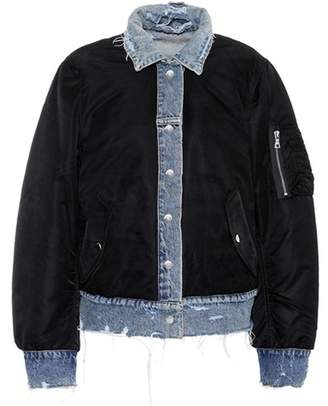 Reversible denim bomber jacket