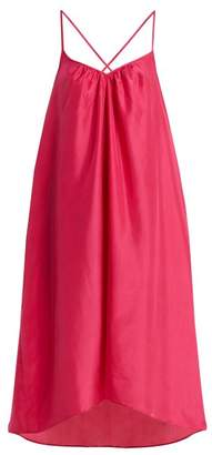 Loup Charmant - Cross Back Silk Satin Slip Dress - Womens - Dark Pink