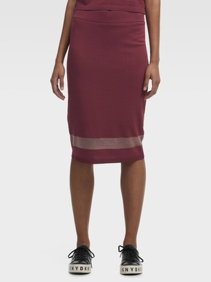 DKNY Stretch Midi Skirt With Mesh Detail