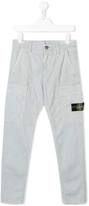 Stone Island Junior logo patch trousers