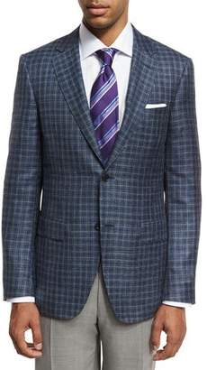 Canali Box Check Two-Button Sport Coat, Gray/Blue
