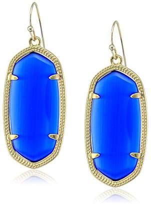 "Kendra Scott Signature"" Elle Gold plated Cobalt Glass Drop Earrings"