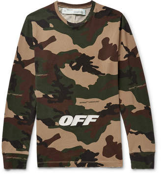 Off-White Off White Slim-Fit Logo-Embroidered Camouflage-Print Cotton-Jersey T-Shirt - Men - Army green
