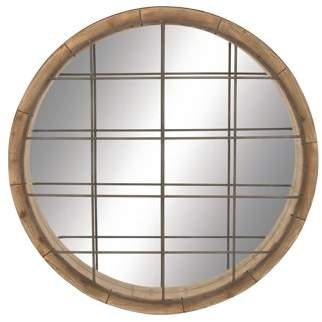 "DecMode 48"" Large Round Industrial Metal & Wood Wall Mirror w/ Metal Grill Front"