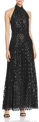 Emporio Armani Sequined Halter Gown