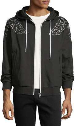MCM Laurel-Embroidered Zip-Front Hoodie
