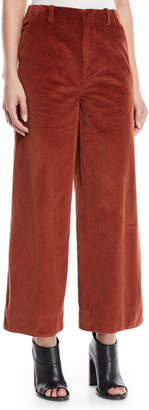 Elizabeth and James Oakley Semi-Fitted Flared Cropped Corduroy Pants w/ Mitered Back