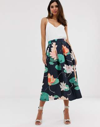 Closet London Closet pleated floral skirt