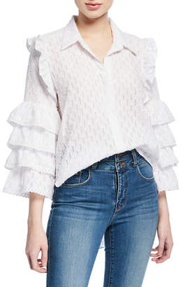 MISA Los Angeles Juana Lace Ruffle Button-Front Top