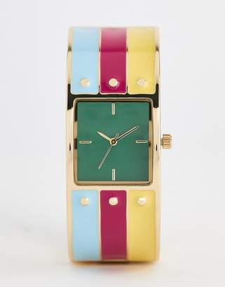 Asos Design DESIGN watch in bangle design with enamel and stud details in gold