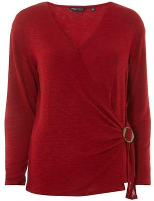 Dorothy Perkins Womens Rust Horn Buckle Wrap Top