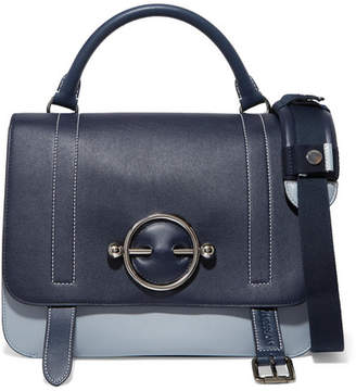 J.W.Anderson Disc Two-tone Leather And Suede Shoulder Bag - Navy
