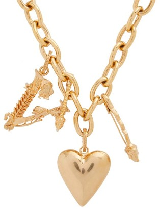 Versace Heart And V Charm Necklace - Womens - Gold