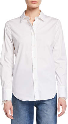 Brunello Cucinelli Button-Down Lace Cuff Blouse