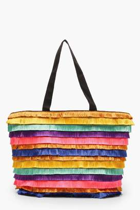 boohoo Multi Colour Fringe Beach Bag