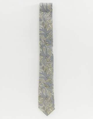 Twisted Tailor tie in grey with floral print
