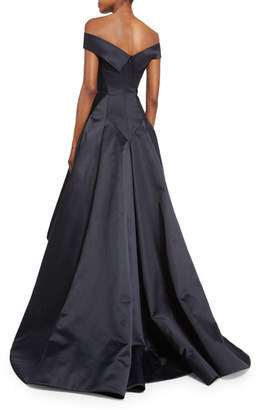 Zac Posen Off-the-Shoulder Pleated Ball Gown, Black