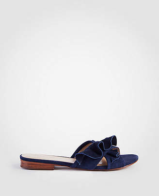 Ann Taylor Krissy Suede Ruffle Slide Sandals