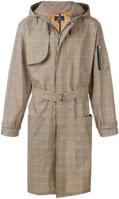 Paura belted check trenchcoat