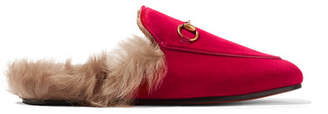 Gucci Princetown Horsebit-detailed Shearling-lined Velvet Slippers