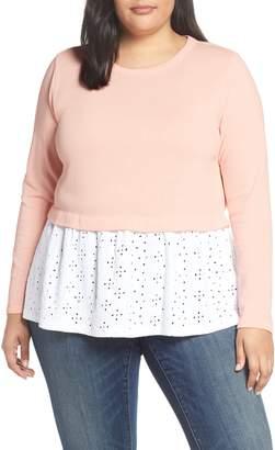 Caslon Eyelet Peplum Sweatshirt