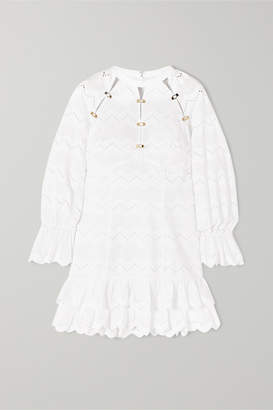 Alice McCall Ziggy Ruffled Broderie Anglaise Cotton Mini Dress - White